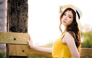 Фотография Азиатка Боке Смотрит Платья Шляпа Шатенки Красивый Девушки