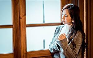 Фотография Азиаты Боке Руки Шатенка Свитера молодые женщины