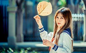 Фото Азиатки Боке Рука Листва Шатенки Смотрит девушка