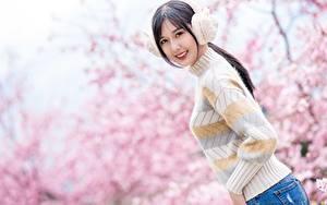 Картинки Азиаты Размытый фон В наушниках Свитер Улыбается Смотрят Брюнетка молодые женщины