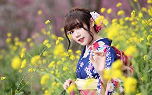 Картинка Азиаты Размытый фон Кимоно Смотрят Девушки