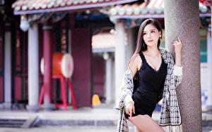 Фотографии Азиатки Боке Позирует Платья Взгляд
