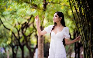 Фотография Азиаты Боке Позирует Платье Рука