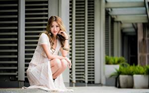 Фотографии Азиаты Размытый фон Поза Сидя Платье Шатенки молодая женщина