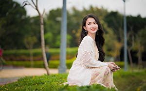 Картинка Азиатки Боке Сидящие Платья Шатенки Миленькие девушка