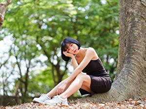Картинки Азиатка Боке Сидит Платья Смотрит девушка