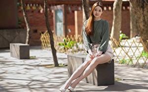 Картинки Азиатка Боке Сидящие Ног Шатенка Миленькие