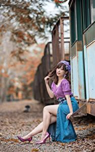Фотография Азиатки Боке Сидящие Ног Юбки Блузка Шатенки Позирует