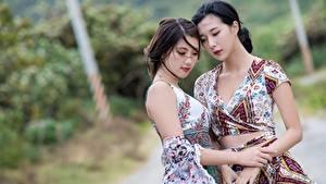 Картинки Азиаты Боке Двое Брюнетки Руки Девушки