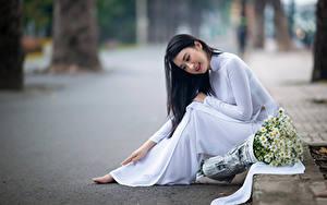 Обои Азиатка Букет Ромашка Боке Сидя Платье молодые женщины