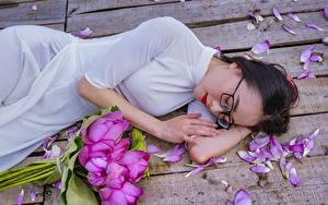 Картинка Азиаты Букеты Лотос Брюнетка Очков Доски Лепестки Платья Лежат молодая женщина
