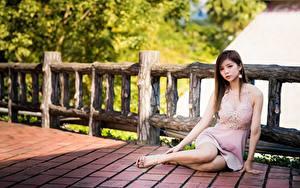 Фото Азиатки Шатенки Забора Сидит Платья Руки Ноги молодая женщина
