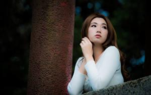 Фотографии Азиаты Шатенки Взгляд Рука Размытый фон Девушки
