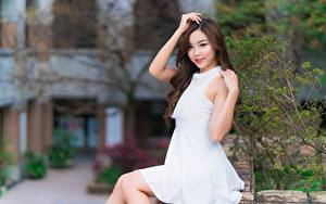 Картинки Азиатки Шатенки Смотрит Улыбается Рука Платья Сидящие девушка
