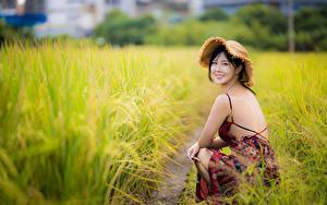 Обои Азиатки Брюнетка Платье Шляпе Сидящие Размытый фон Взгляд Траве Девушки