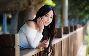 Фото Азиаты Брюнеток Смотрит Руки Боке Забора молодые женщины