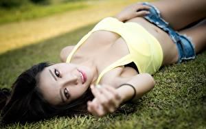 Обои Азиатки Брюнетки Траве Боке Лежа Шорт Рука Смотрит девушка
