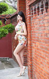 Картинка Азиатки Брюнеток Поза Ног Туфлях Платье Смотрят девушка