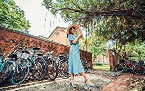 Фотография Азиатки Платье Шляпа Велосипеде