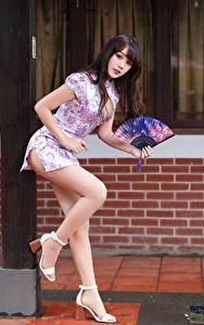 Фотографии Азиаты Платья Ноги Веер Взгляд Позирует молодые женщины