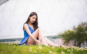 Фотографии Азиатки Платье Ноги Сидит Размытый фон молодые женщины