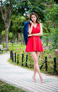 Обои Азиатка Платье Красный Ног Размытый фон Девушки