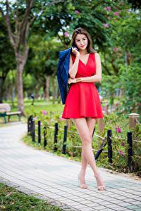 Обои Азиатка Платье Красный Ног Размытый фон