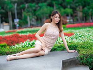 Картинка Азиатка Платье Сидящие Боке девушка