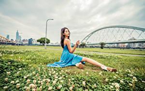 Фото Азиаты Платье Сидит Траве молодая женщина