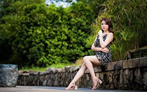Картинка Азиаты Платья Сидящие Ног Смотрят молодые женщины