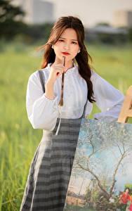 Обои Азиатки Картина Размытый фон Взгляд Шатенки Девушки