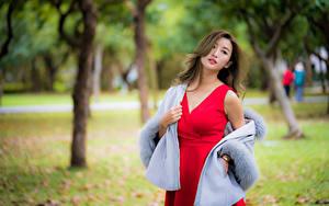 Картинки Азиатки Позирует Платья Смотрит Боке девушка
