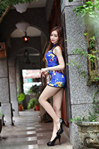 Фотографии Азиатка Поза Платья Ноги Туфли Смотрит девушка