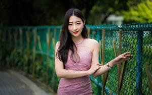 Обои Азиатки Позирует Рука Платья Улыбается Смотрит Боке Брюнетки Ограда девушка