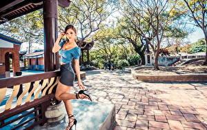 Картинка Азиаты Позирует Ноги Юбка Блузка Взгляд молодые женщины