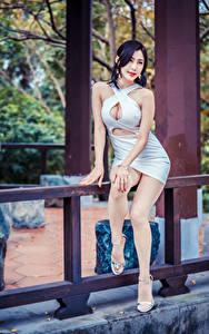 Фотография Азиаты Позирует Сидящие Платья Декольте Ног Девушки