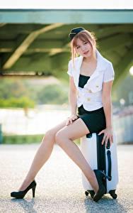 Картинка Азиаты Позирует Сидящие Чемоданом Туфель Ног Красивая Юбки Блузка Униформа Стюардесса Шатенки девушка