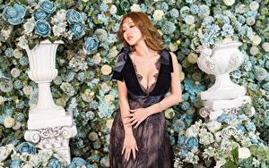 Фотографии Азиатки Роза Рука Платья Вырез на платье девушка Цветы