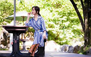 Обои Азиатка Сидя Платья Боке молодые женщины