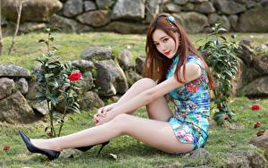 Фотография Азиатка Сидя Платья Ноги Туфлях Шатенка