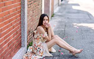 Картинки Азиатка Сидит Платья Ног Стенка Кирпичный Взгляд Размытый фон молодые женщины