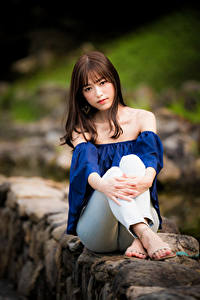 Фотография Азиатки Сидящие Смотрит Боке Шатенки девушка