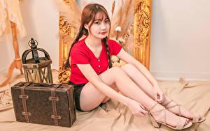 Обои Азиатки Сидящие Ноги Шатенка Коса Чемоданы Взгляд