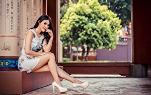 Обои Азиаты Сидящие Ноги Туфли Платья Улыбается Девушки
