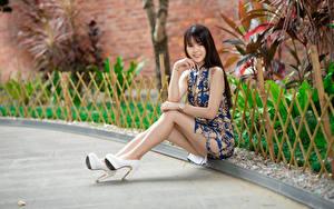 Фотографии Азиаты Сидит Ног Туфлях Платье Улыбка Взгляд молодые женщины