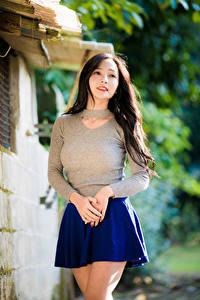 Фотография Азиаты Юбка Руки Блузка Размытый фон девушка