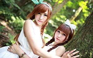Фотография Азиаты Двое Шатенка Смотрит Бантики Руки Косы Миленькие девушка