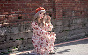 Фотографии Азиаты Стены Из кирпича Позирует Платье Руки Берет молодые женщины