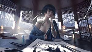 Картинка Азиатка Красивый Сидя Татуировки Столы Рука Wlop Фэнтези Девушки