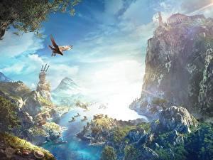 Картинка Assassin's Creed Assassin's Creed Odyssey Скале Заливы Игры